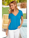 Ruched Sleeve V Neck Top Photo