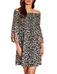 Smocked Embellished Off The Shoulder Leopard Dress Photo