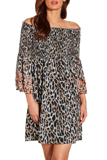 Smocked embellished off the shoulder leopard dress image