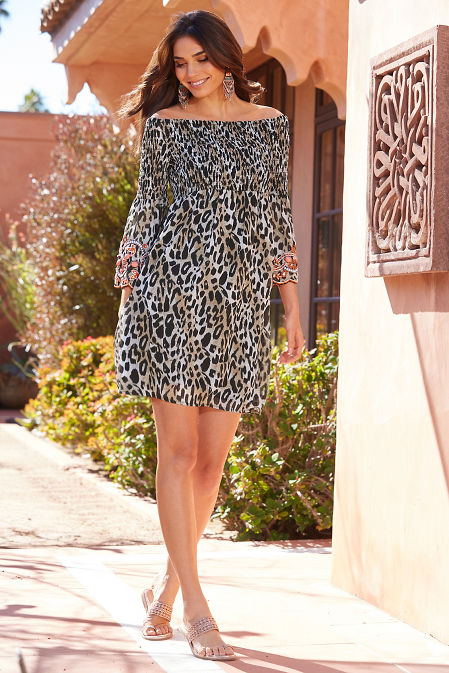 Smocked embellished off the shoulder leopard dress image