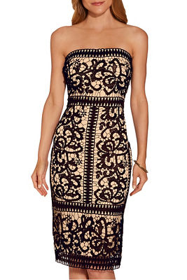 Strapless border lace dress