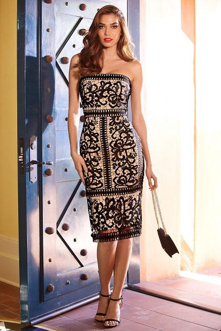 Strapless border lace dress image