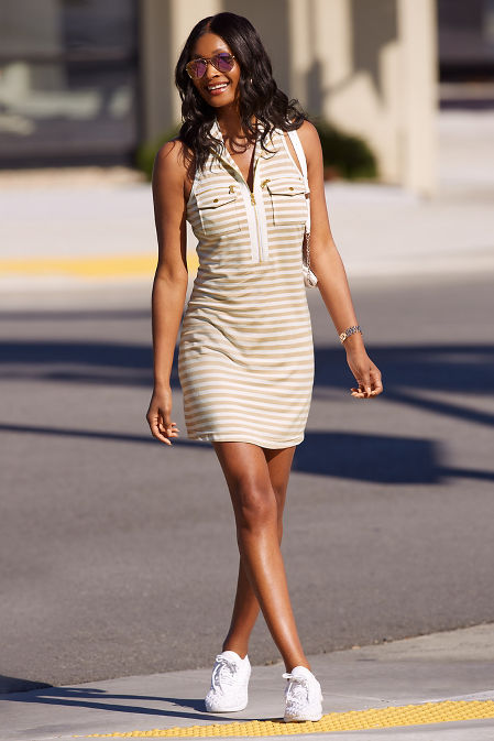 Stripe racerback chic zip dress image