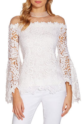 Display product reviews for Swiss dot illusion lace top
