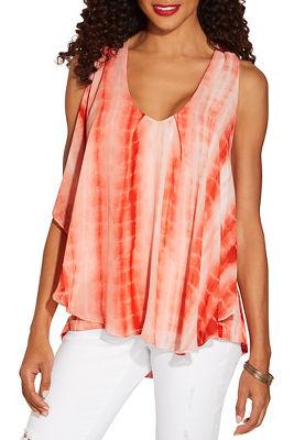 Tie dye chiffon overlay top