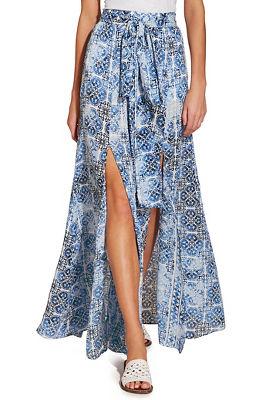 tile print slit maxi skirt