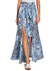Tile Print Slit Maxi Skirt Photo