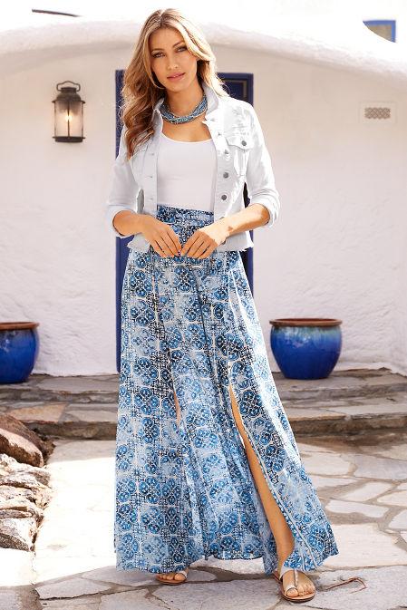 Tile print slit maxi skirt image