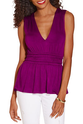V neck babydoll sleeveless top