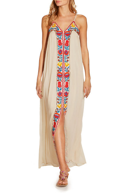 V neck embroidered maxi dress image