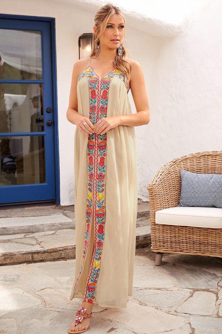 V neck embroidered maxi dress image
