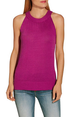 Wide neck band sweater tank