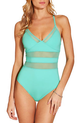 Mesh inset v neck one piece swimsuit
