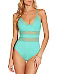Mesh Inset V Neck One Piece Swimsuit Photo