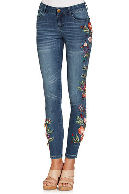 pink 3d floral ankle jean