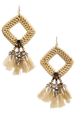 diamond woven tassel earrings