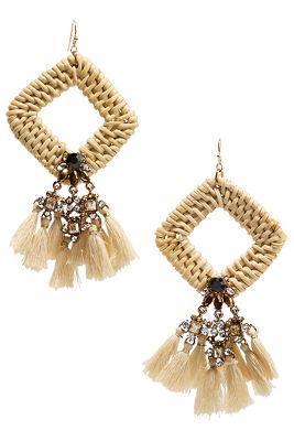 Diamond woven tassel earrings