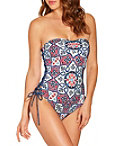 Side Lace Up Tile Print One Piece Swimsuit Photo