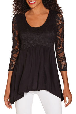Lace sleeve babydoll top