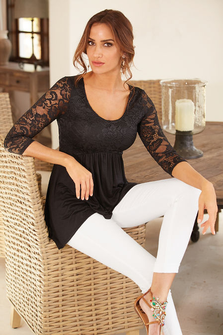 Lace sleeve babydoll top image