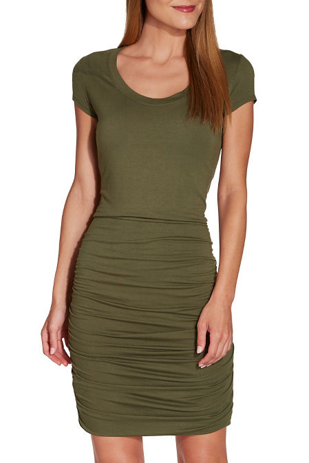 Side ruched T-shirt dress image