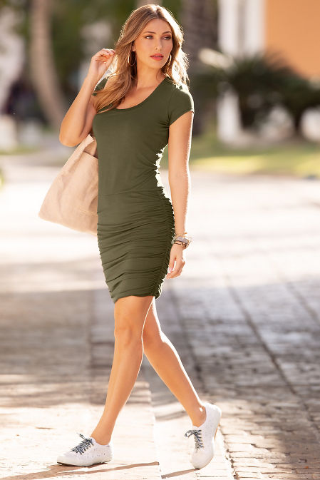 Side ruched T-shirt dress image