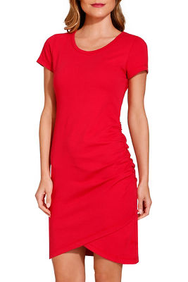 Cap sleeve ruched T-shirt dress