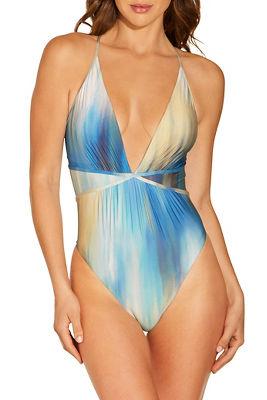 Tie dye deep v one piece swimsuit