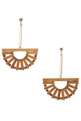 Wooden fan earrings