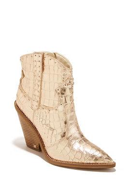 Metallic croc studded bootie