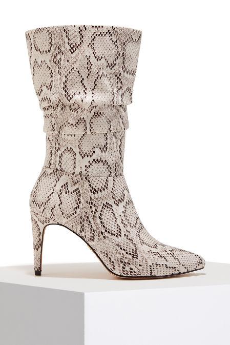 Snake print slouch heel boot image