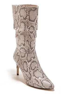 Snake print slouch heel boot