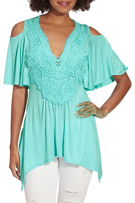 Cold shoulder embroidered flutter sleeve top
