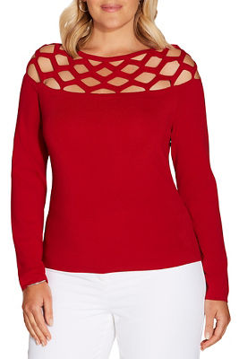 Cutout fine gauge long sleeve sweater