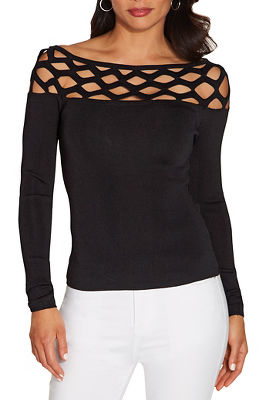 Cutout fine gauge long sleeve sweater