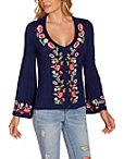 Embroidered Flare Sleeve Top Photo