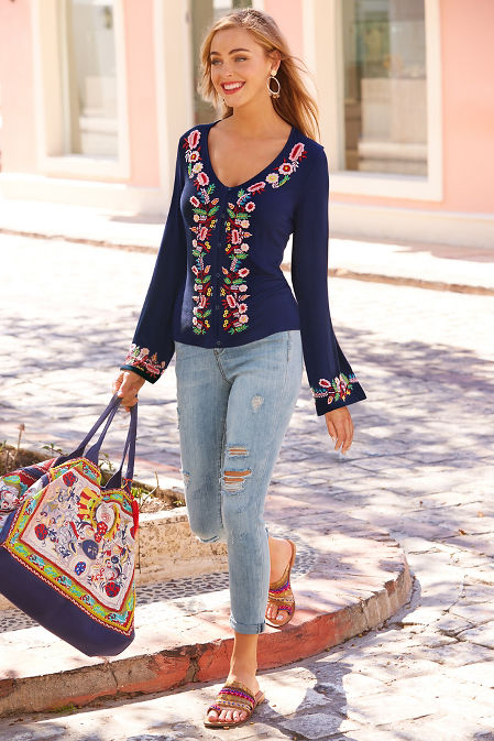 Embroidered flare sleeve top image