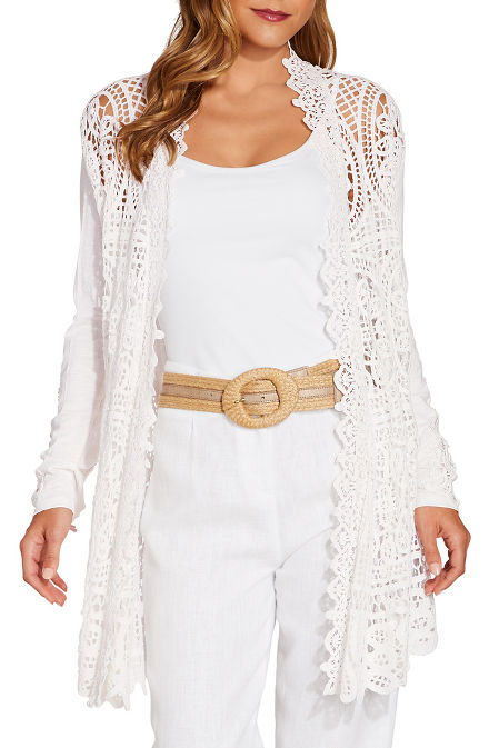 Lace open knit cardigan image