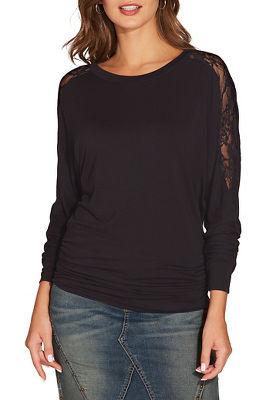 lace shoulder blouson top