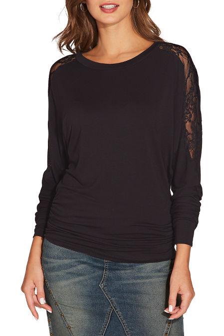Lace shoulder blouson top image