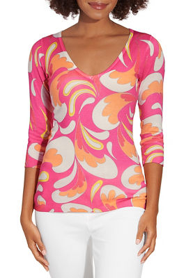 Pastel print three quarter v neck sweater