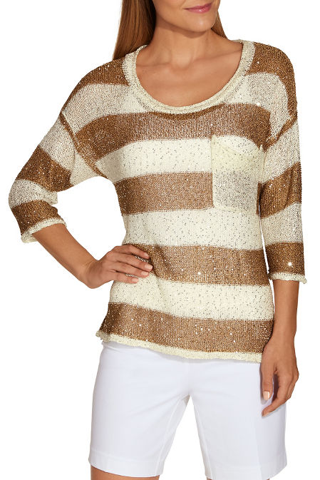 Sequin striped sweater image