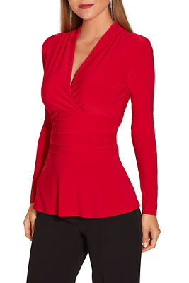 V neck ruched waisted long sleeve top