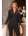 V Neck Ruched Waisted Long Sleeve Top Photo