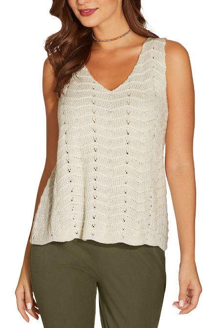 V neck textured sweater tank top image