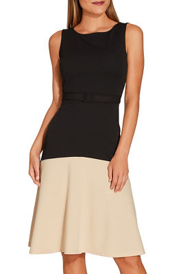 belted colorblock fit and flare dress