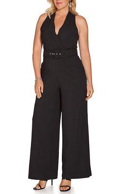 Belted surplice jumpsuit