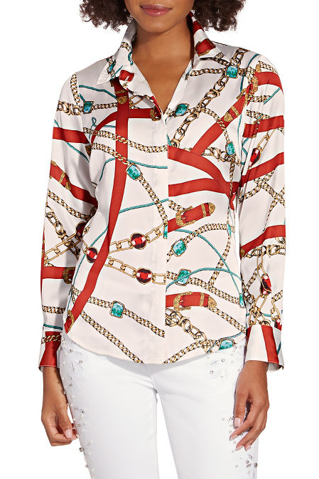 Chain print button down shirt image