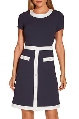 Covered button colorblock sheath dress