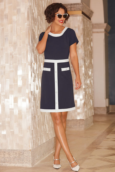 Covered button colorblock sheath dress image